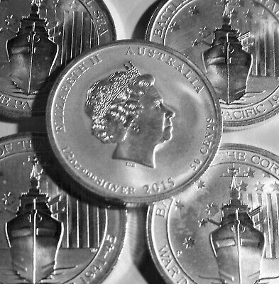 (2015)  1/2 oz Australian Victory In Pacific Silver Coin (BU) ( Lot of 5 coins)