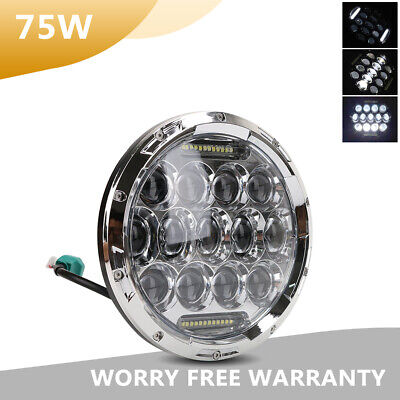 7Inch 75W LED Car Chrome Headlight 6000K High&Low for Jeep Wrangler Motorcycle