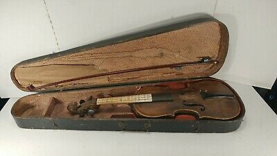 Antique German HOPF Violin with Bow and Original case for parts or restoration.