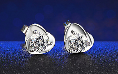 1.9ct Round Cut VVS1D Diamond Heart Shape Stud Earrings 14k White Gold Finish