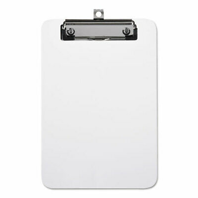"""Plastic Clipboard with Low Profile Clip, 1/2"""" Capacity, Holds 5 x 8, Clear"""