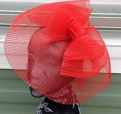 Red feather fascinator millinery burlesque headband wedding hat hair piece x