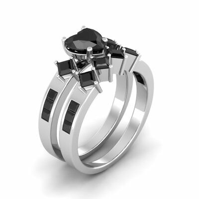 Certified 2.98CT Black Heart Cut Diamond Engagement Ring Set For Love 14K Gold