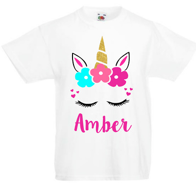 Personalised Unicorn Girls Tshirt Birthday T-Shirt Party Gifts Ages 4-6 7 8 -11