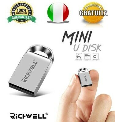 Pendrive Usb 2.0 Super Mini Metallo 16 gb 32 gb 64 gb 128gb Chiavetta FlashDrive