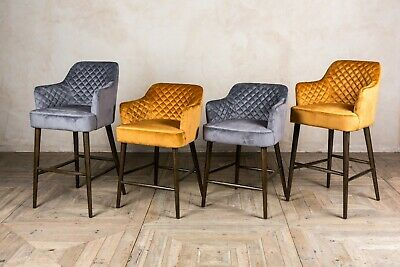 Quilted Velvet Bar Stools Diamond Stitch Breakfast Bar Stools In Two Colours