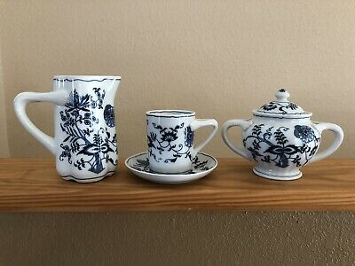 Blue Danube 5 Piece Lot Can Cup Saucer Sugar Pitcher