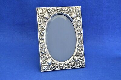 Vintage Solid Silver Turkish Oval Photo Frame - 900 Grade Silver - Damar  -