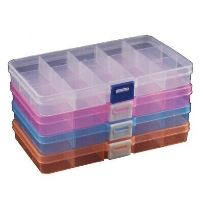 4 Packs (4 Colors) Plastic Storage Box (15 Compartments) Jewelry Earring To M8A4