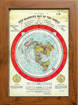 Flat Earth Map Gleasons map 1892 (FRAMED MANY STYLES TO CHOOSE) *Free Delivery !