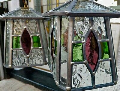 VINTAGE pair of arts/crafts stained glass lead outdoor light lantern NOT CHEAP