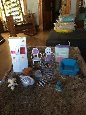 Barbie Doll House Furniture  Refrigerator Table. Tv Chairs Random Pieces Lot