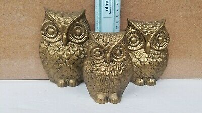 Vintage Owl  Bird Family Lot of 3 Gold Painted Metal