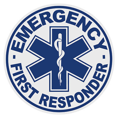 """Emergency First Responder Small 2"""" Round Reflective Firefighter Decal Sticker"""