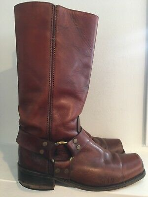 FRYE Motorcycle Campus Square Toe Brown Distressed Leather Western Boots S 9.5 D