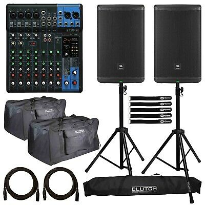 "JBL EON615 15"" Powered DJ PA Loud Speakers Pair with Yamaha MG10XU Mixer Package"