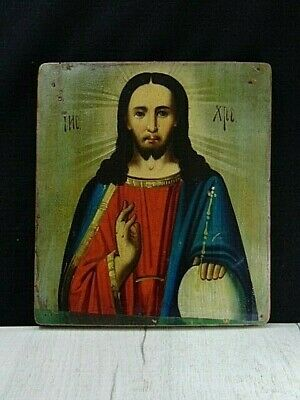 Antique 19th Russian Hand Painted Wood Orthodox Icon of Jesus Christ