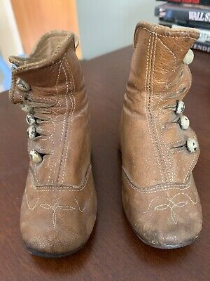 Vintage Antique Victorian Leather Baby/Child's High Top Button Shoes (Brown)