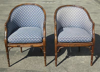 Pair of Vintage Mid Century Faux Bamboo Wood & Cane Round Back Club Blue Chairs