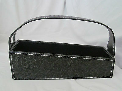 Brand New Bey Berk Black Pebbled Leather Wine Bottle Cradle Carrying Case