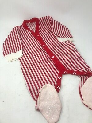 Vintage 1950s infant toddler Red and White Striped Footed sleeper 12 months
