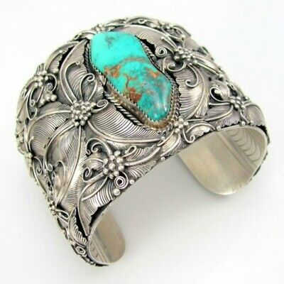 Retro Open Size Boho Jewelry Turquoise Cuff Bangle Wide Bracelet Tibetan Silver
