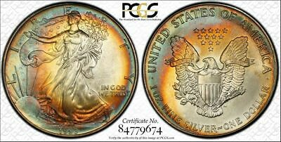 1993 Silver Eagle $1 Dollar BU  PCGS MS-66 Color Toned Coin In High Grade