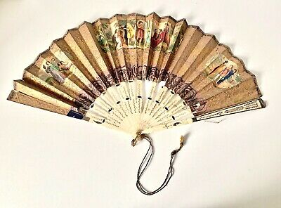 Antique Victorian HAND PAINTED Roman Scenes Gold Gilt Bovine Fan