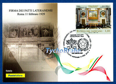 POSTCARD FDC 90° LATERAN PACTS 2019 VATICAN JOINT Italy First Day Cover LATRAN