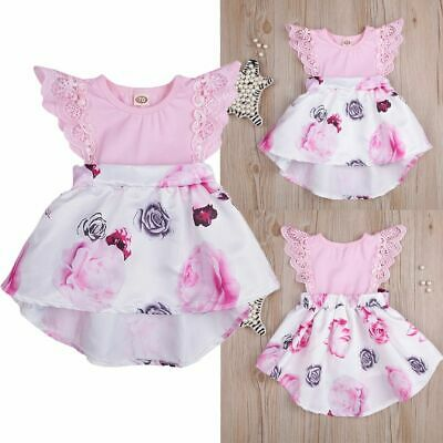 Newborn Baby Girl Floral Dress Flying Sleeve Dress Flower Sister Sundress
