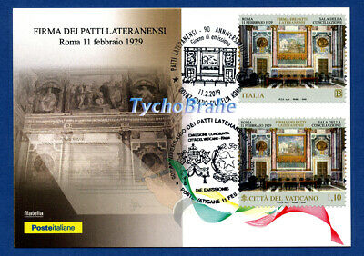 CARTOLINA JOINT FDC 90° PATTI LATERANENSI 2019 Vaticano Italia First Day Cover