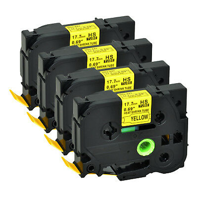 """4 PK HSe641 for Brother Black on Yellow Shrink Tube Tape PT-E300 H300 0.7"""" 1.5m"""
