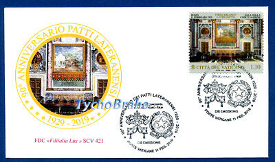 FDC 90° LATERAN PACTS 2019 VATICAN JOINT Italy First Day Cover FILITALIA LUX 421