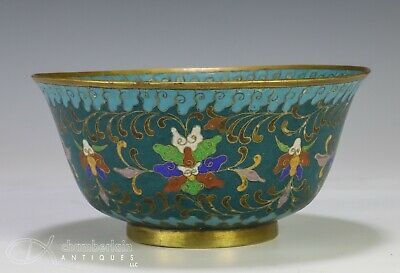 Antique Cloisonne Bowl with Horses and Lotus