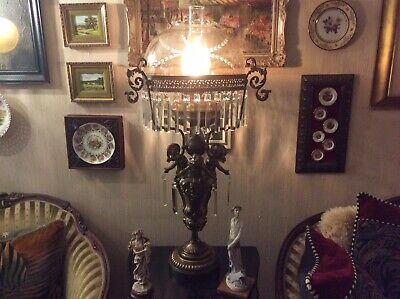 Antiques Victorian Three Cherub Bronzed Banquet Lamp