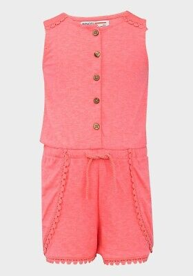 Girls Neon Pink Playsuit Sleeveless Cotton 12 18 Months All In One Minoti Girl