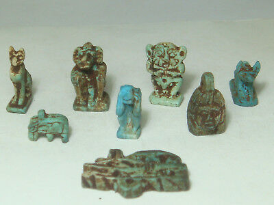 Mixed Ancient Egyptian gods & animal Amulets (Faience) - Lot of 8