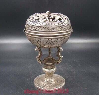 Collectible Handmade Carving Statue Copper Silver Incense Burner