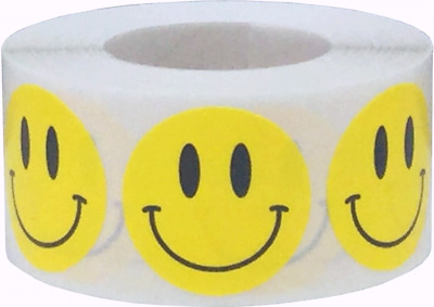 Happy Face Circle Stickers, 1 Inch Round, 500 Stickers Total, 16 Color Choices