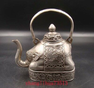 Collectible Handmade Carving Statue Copper silver Teapot Elephant Art Deco
