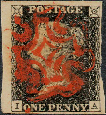 1840 1d Penny Black Plate 8 letters 'IA' Fine used 4 Margins - Bright Red Cross