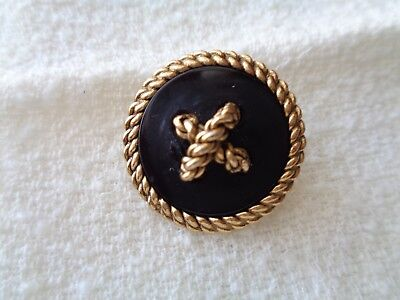 NEW  Authentic CHANEL CC Logo Black Gold Stamped  Button  1. 1/8""