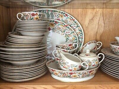 Queen Anne Flintridge China, Floral Pattern, Made In California, 12 Serving,