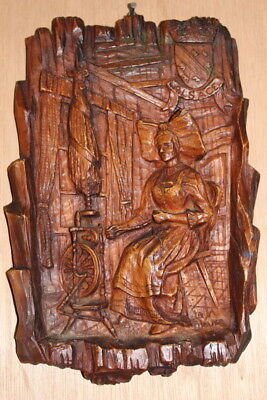 French  Vintage  3D Carved Wall Plaque  LADY OF ALSACE WEAVING FOR SALE
