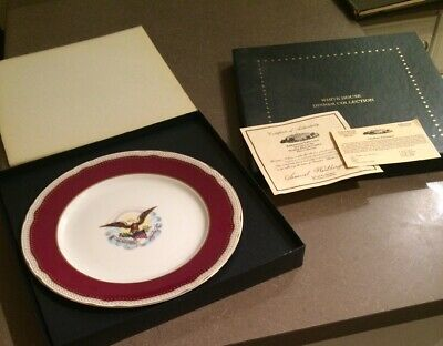 Woodmere White House Abraham Lincoln China Dinner Plate w/ Box C of A & Recipe