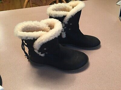 c2842ad596d UGG 1007760 AKADIA Black Winter Booties Lace Up Back Boots Leather  Shearling 5