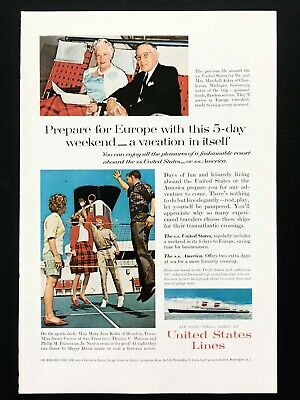 1963 Vintage Print Ad S.S. United States Lines cruise ship travel ocean boat