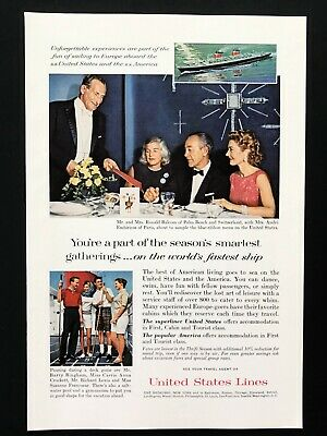 1963 Vintage Print Ad United States Lines SS cruise ship boat shuffleboard image