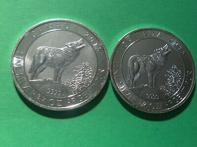 Lot Of Two 2015 Canada Grey Wolf Series 3/4 Oz. .9999 Fine Silver Round (Nice)