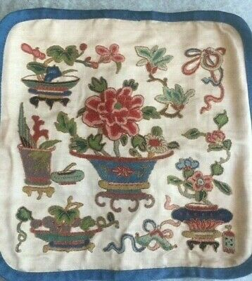 Antique Chinese Square Embroidery Forbidden Stitches with Temple Objects Peony